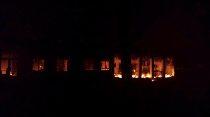 Fire burning inside of MSF hospital in Kunduz, Afghanistan  on October 3rd (MSF/Reuters)