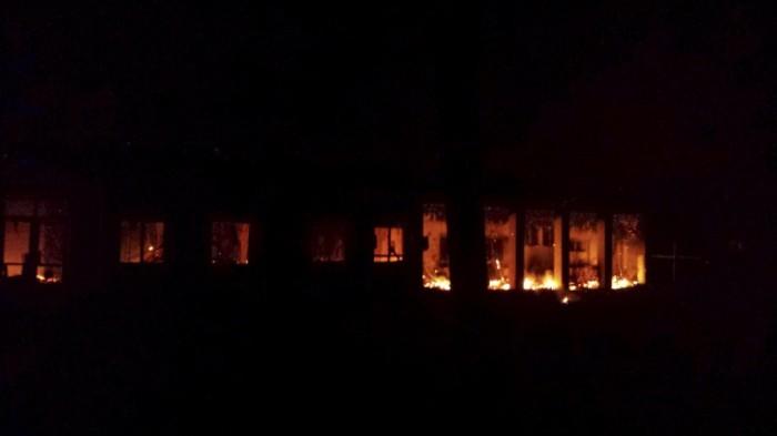 Fire burning inside of MSF hospital in Kunduz, Afghanistan  on October 3rd (MSF/Reuters)