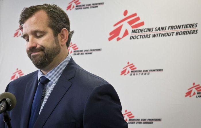 Jason Cone, U.S. executive director of Doctors Without Borders, at a press conference on October 7th, 2015